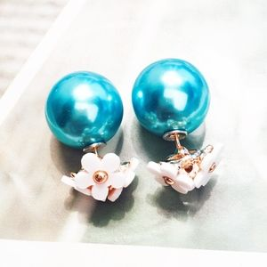 Turquoise Ball Double Sided Daisy Flower Earrings